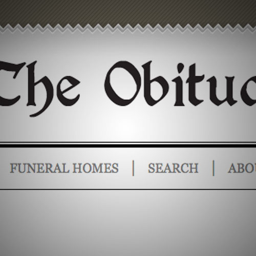 The Obituary Section website, by Clever Mutt™